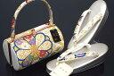 【大阪ぞうり協同組合 認定】【Fサイズ】【日本製】西陣織帯地使用振袖用草履バッグセット「大きな花」
