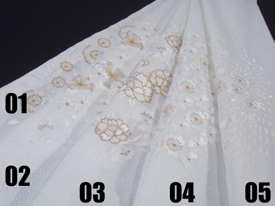 【留袖用・振袖用・訪問着用・小紋用】【洗える】ちりめん刺繍半衿「白地に金刺繍」【10P03Dec16】
