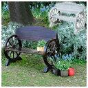 木製ベンチ 車輪ベンチ 焼き加工 幅110cm ヴィンテージ風ベンチ 屋外用 杉松天然木 WB