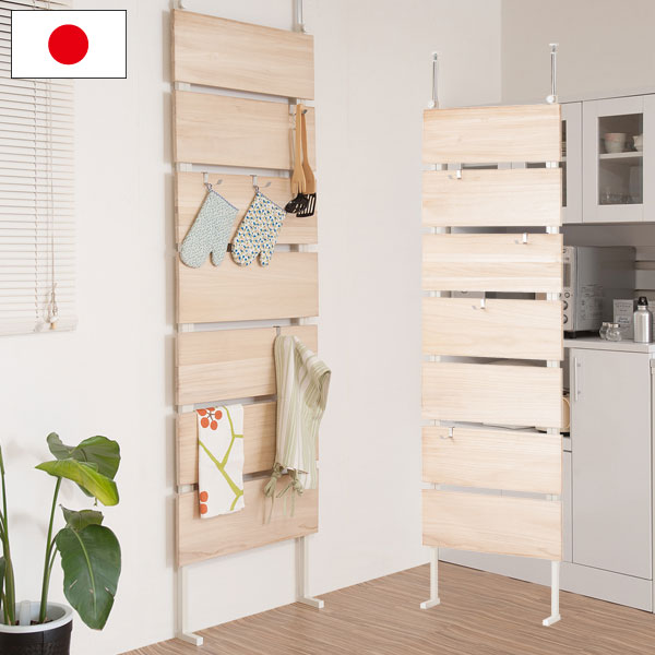 日本製 リビング壁面収納 壁面家具 つっぱり式 天然木桐 ウォールパーテーション 幅60cm 無塗装 ナチュラル NJ-0504