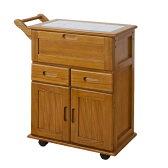 キッチンワゴン 作業台 キャスター付き 天然木フラップ式タイルトップキッチンワゴン 幅60cm OSK-T016