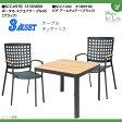 【ガーデンファニチャー】ポータルスクエアテーブル95&ビダ アームチェアー 3点セット