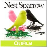 クリップ ホルダー 置き ケース 書類 かわいいクリップ 便利 鳥 巣 卵 バード ネスト クリップホルダー【 QUALY / クオーリー 】 NEST SPARROW おもしろ文