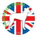 犬の産出国の国旗がバックでカッコいい!いぬステッカーまる マンチェスターテリア 斜向きLサイズ