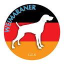 犬の産出国の国旗がバックでカッコいい!いぬステッカーまる ワイマラナー Mサイズ(2枚1セット)