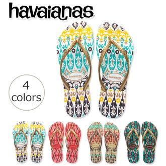 "King's Beach sandal Havaianas SLIM ETNICS ( slim エトニクス ) Indonesia women's textile ""ikat"" motif exotic pair of havaianas for women"