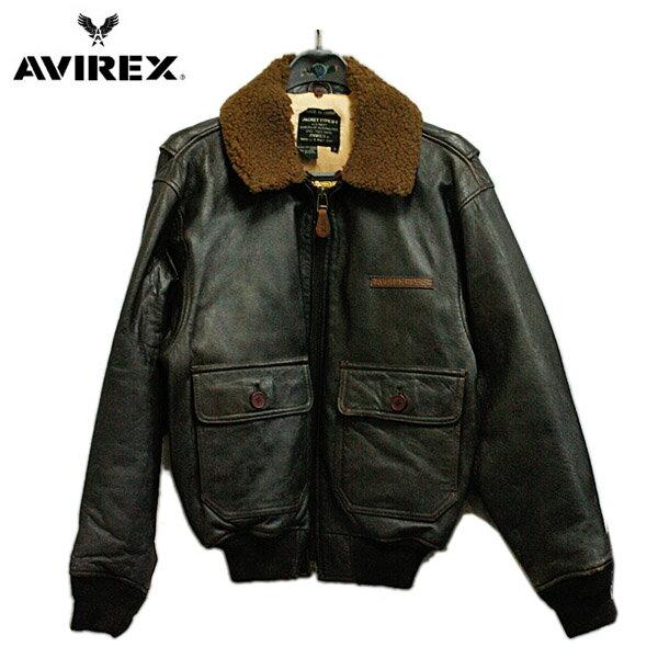 AVIREX (アビレックス) G-1 フライトジャケット 裏地付き メンズ ブラウン 革ジャン 【デッドストック】 ミリタリー 米軍 U.S.NAVY