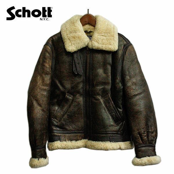 schott (ショット) B-3 フライトジャケット メンズ レザー 【USAデッドストック】 アメリカ ジャケット 革ジャン ブラウン かっこいい カジュアル アメカジ ミリタリー 【レア】【希少】