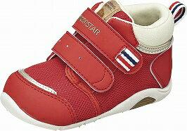 CarrotキャロットB75レッド2Eベビー靴子供靴機能性満載やわらか設計つま先ゆったり機能性カップ