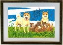 北海道犬 DOG FAMILY A3額付【送料無料】 岡本 肇 手描き作品 絵画 水墨画 作家オフィス「和味文化研究所」直営店[アート インテリア 壁掛け 壁飾り 装飾 額縁][犬 ペット ネコ ねこ 猫 動物 プレゼント ギフト]