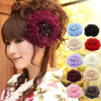 ' Ornament ornate flower corsage ' coming of age ceremony kimono wedding kimono hakama [] ( カミカザリ hair accessory with eyes セイジンシキ comingof inbetween ) hairstyles party, Ribbon, white, red and black * kimono [kami]