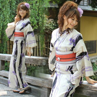 [] «Petit» yukata set fine cotton linen Petit yukata 3 pieces ' off-white ground blue-violet IRIS with black vertical stripes ' [shipped out from the beginning of June] yukata belt Geta new 2012 yukata weekend yukata yukata yukata set women y