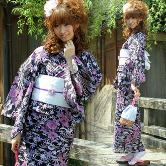 Yukata set ladies cotton Leno yukata 3 pieces ' black with purple round Chrysanthemum bamboo leaf ' yukata belt clogs Womens retro chic Chrysanthemum women kimono women yukata set