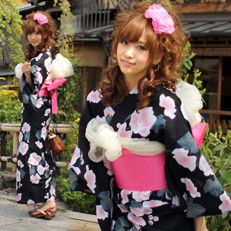 Yukata set ladies tailoring up yukata 3 pieces on black buds and pink rose-Mallow flower yukata belt retro shoe Womens