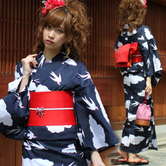 "Yukata set ladies tailoring up yukata 3 pieces ""to dark blue clouds and swallows ' yukata belt clogs Womens retro women kimono ladies yukata set"