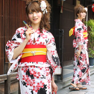 Yukata set ladies tailoring up yukata 3 pieces off-white ground to the red cherry pattern yukata belt clogs Womens retro cherry