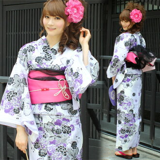 "Yukata set women still weave yukata 3 pieces ""in pale purple Peony with large cherry tree pattern"" yukata belt clogs Womens retro chic cherry women kimono women yukata set-"