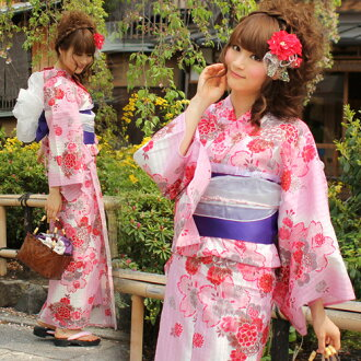 "Yukata set women still weave yukata 3 pieces ' pink Peony and the great cherry tree pattern ""yukata belt clogs Womens retro cherry"