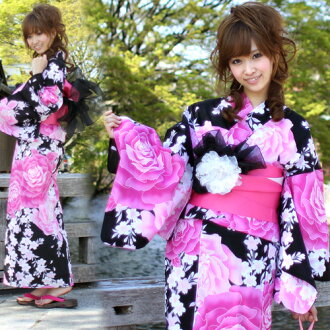 Yukata set women still weave yukata 3 pieces-black with pink large rose pattern yukata belt clogs ladies retro rose women kimono women yukata set