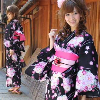Yukata set women still weave yukata 3 pieces ' on a black background bouquet with Ribbon ' yukata belt clogs Womens retro women kimono ladies yukata set-[tax included]