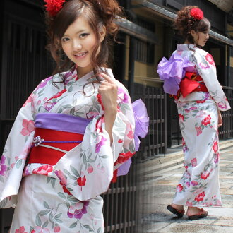 "Yukata set women still weave yukata 3 pieces ""in off-white Camellia and flower ' yukata belt clogs Womens retro women kimono ladies yukata set-"