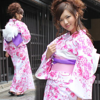 Yukata set women still weave yukata 3 pieces ' on a white background when the pink cherry and double cherry blossoms ' yukata belt clogs Womens retro cherry women kimono ladies yukata set-