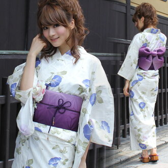"Yukata set women making belt high grade still weave yukata 7 piece set ""off-white ground morning glory"" [zu] yukata belt clogs Womens retro glory"