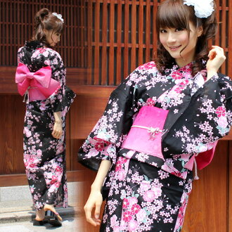 "[] Yukata set high quality still weave yukata 7 piece set ""black pink Kozakura and floral"" yukata belt Geta new 2013 yukata weekend yukata yukata yukata set women yukata set shipping postage"
