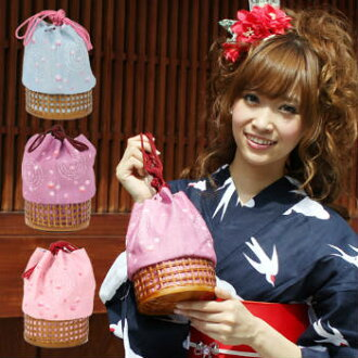"Burn a ""pink"" underground wheel holding the world cherry tree pattern drawstring purse; basket bag きんちゃく basket basket 05P10Dec13"
