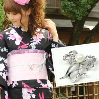"Ribbon motif strapwork string (white pearl) yukata ユカタ yukata obi buckle made in ""pink"" Japan"