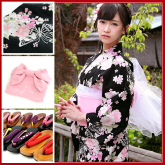 Yukata set women making belt high grade still weave yukata 7pcs yukata belt clogs Womens retro Cherry double cherry blossoms in pink on black