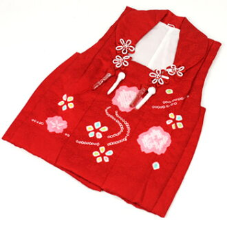 It is good to a kimono of Seven-Five-Three Festival kimono 3 years old 3 years old pure silk fabrics overcoat coat (running water and cherry tree red) 753♪