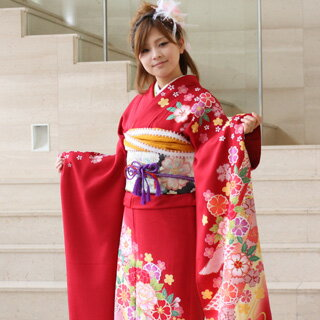 Long-sleeved kimono rental ceremony set silk capital from Yuzen coming of age ceremony for 20 points set up wedding or formal kimono kimono galumnidae trusting rental renntaru comingof inbetween seizing ski bag bag