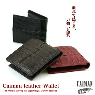 ' Caiman leather two fold wallet ' gentleman for ladies mens wallet wallet wallet unisex leather crocodile two folded wallet 2 fold wallet [zu]
