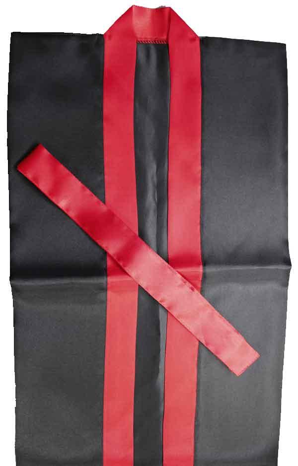 サテンロングハッピ「赤衿本体黒」【L】の商品画像