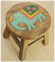 【花柄ゾウのウッドスツール】子供から大人まで可愛いウッドスツール! 踏み台 花台 子供用腰掛 腰掛になるアジアン 補助椅子/玄関 丸椅子(家具 アジアン)ゾウ グッズ