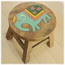 カラフルな可愛いゾウが座面に彫られたロースツール。可愛い象の雑貨。見ているだけで癒やされます。アニマル好きなお友達にプレゼントしても喜ばれそうです。