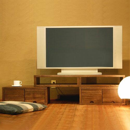 TVボード TSUMIKI ウォールナット色TVボード/TV台/テレビボード/テレビ台/AVボード/和モダン/木製/天然木/無垢材/桐材/伸長式/伸縮式/コーナー/アンティーク