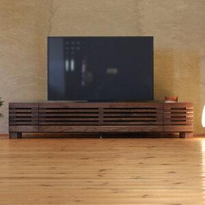 TVボード 幅180cm ウォールナット材 格子扉 テレビ台