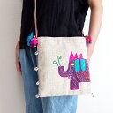 【メール便】手織りコットンヘンプ手刺繍ショルダーバッグ 03B タイ北部の手織り生地とカラフルな象の手刺繍 モダンで洗練されたエスニックテイストの一点ものバッグ