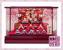 雛人形 木製枠本格アクリルケース飾り「桜金襴几帳 すこやかわ...