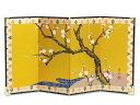 4曲利久絵画屏風「梅/22hx10」rj107|| ミニ 小...