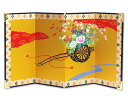 4曲利久絵画屏風「花車/22hx10」rj108||(和風 小物 和