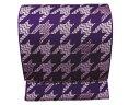 京袋帯 洗える 全通柄 紫色地千鳥格子 日本製 カジュアル 着物 きもの