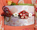 ショッピング振袖 帯締め 帯〆 パール梅飾り 赤金 先割れ 3色使い 正絹 振袖 成人式 着物