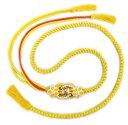 ショッピング成人式 帯締め 帯〆 白花珠 花パール飾り付 黄色金 先割れ 2色使い 正絹 振袖 成人式 着物