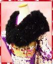 振袖(成人式)に♪スワン羽毛ショール黒にゴージャスラメ金黒羽根