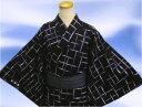 帯簡単♪粋な男物男性浴衣とワンタッチ結び角帯セット黒地白紫格子M・L・LL