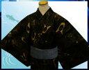 帯簡単♪粋な男物男性浴衣とワンタッチ結び角帯セット濃茶地銀ラメライン兜M・L・LL