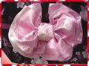 浴衣に♪結び方簡単♪ふわっふわ兵児帯ピンク地薔薇